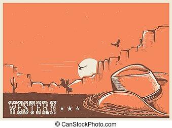 americano, lasso., cappello, cowboy, manifesto, occidentale