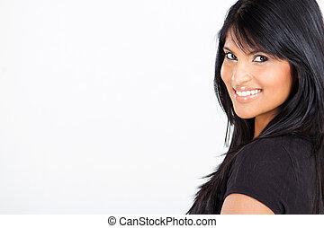 americano, latino, attraente, donna
