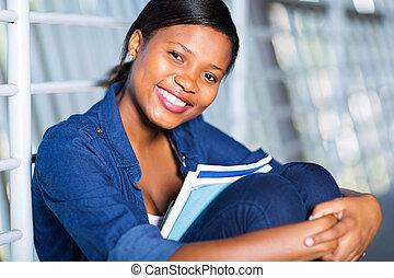 americano, libri, donna africana