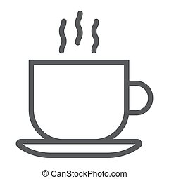 Americano line icon, coffee and cafe, hot coffee sign vector graphics, a linear pattern on a white background, eps 10.