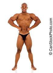 americano, macho, bodybuilder, africano