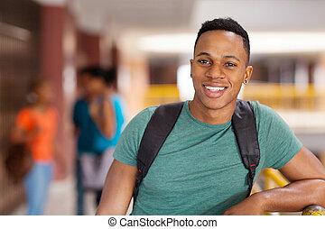 americano, macho, estudante universitário, africano