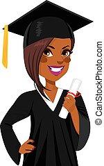 americano, menina, graduação, africano
