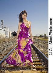 americano, moda, r, modelo, africano