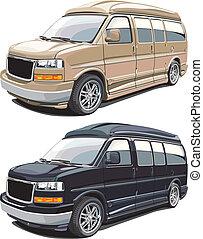 americano, moderno, furgone