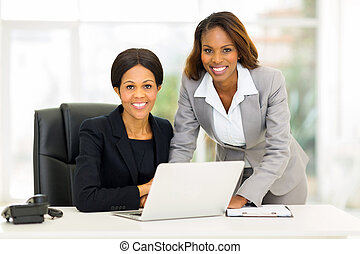 americano, mulheres, escritório, negócio, africano