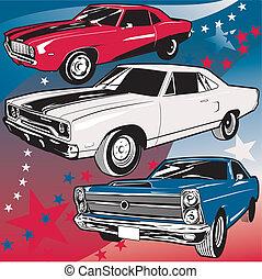 americano, muscolo, automobili