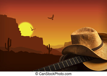 americano, musica paese, fondo, con, chitarra, e, cappello...