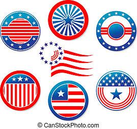 americano, nacional, bandeiras, e, símbolos