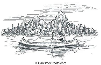 americano, nativo, bote, canoa