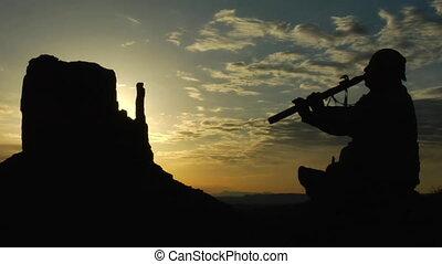 americano nativo, flauta jogando, com, vale monumento,...