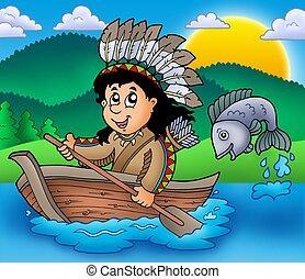 americano nativo, indio, en, barco