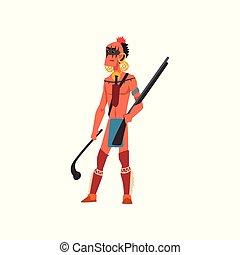 americano nativo, indio, guerrero, con, arma, tribu, miembro, en, ropa tradicional, vector, ilustración, en, un, fondo blanco