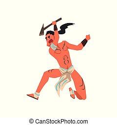americano nativo, indio, guerrero, con, hacha, tribu, miembro, en, ropa tradicional, vector, ilustración, en, un, fondo blanco