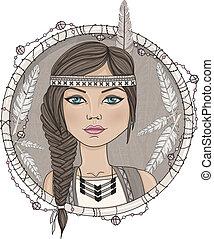 americano nativo, niña, lindo