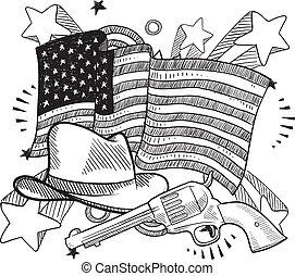 americano, oeste selvagem, esboço