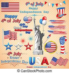 americano, ondulato, bandiera