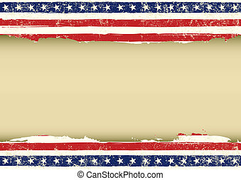 americano, orizzontale, bandiera, sporco