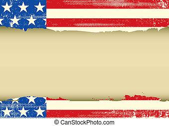 americano, orizzontale, cornice, sporco