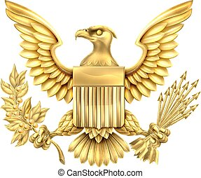 americano, ouro, águia, selo