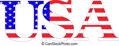 americano, palavra, bandeira, eua