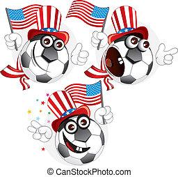 americano, palla, cartone animato