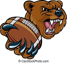 americano, palla, orso, football tiene