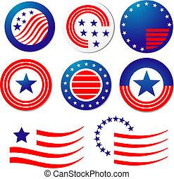 americano, patriótico, símbolos
