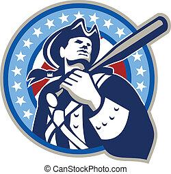 americano, patriota, bastão baseball, retro