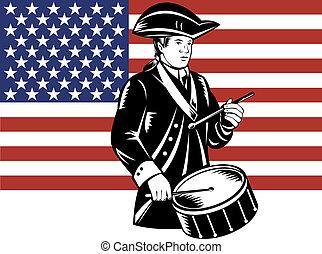 americano, patriota, baterista, com, bandeira