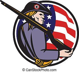 americano, patriota, minuteman, com, rifle, e, bandeira