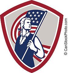 americano, patriota, segurando, bandeira eua, escudo