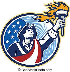 americano, patriota, segurando, tocha, listras estrelas,...