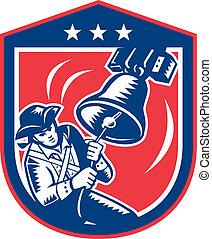 americano, patriota, tocando, sino liberdade, woodcut, retro