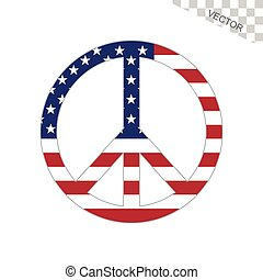 americano, paz, bandeira, sinal