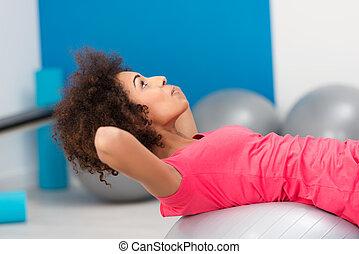 americano, pilates, giovane, donna africana