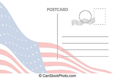 americano, postale, bandiera, scheda