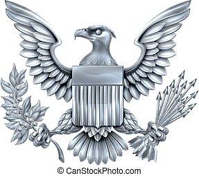 americano, prata, águia