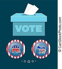 americano, presidencial, eleição, elefante, contra, burro, bandeira