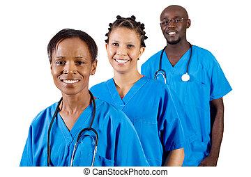 americano, profissão, médico, africano