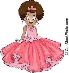 americano, ragazza, capretto, principessa, africano