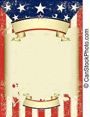 americano, retro, cornice, sporco