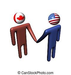 americano, reunião, canadense