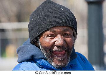 americano, rir, desabrigado, homem africano, feliz