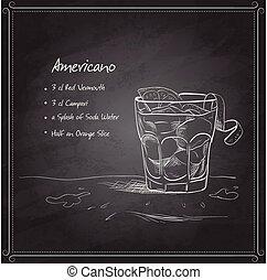 americano, schwarz, coctail, brett