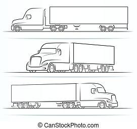 americano, silhouette, camion, profili, contorni