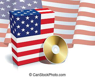 americano, software, caixa, e, cd