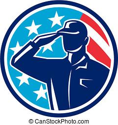 americano, soldado, recruta, saudando, bandeira, círculo, retro