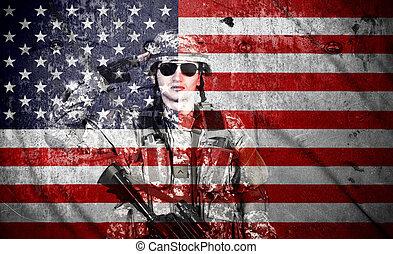 americano, soldado, salutes