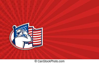 americano, soldado, saudação, bandeira, retro
